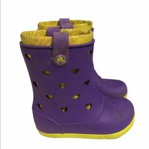 Croc Purple Yellow Hearts Rain Boots Size 11